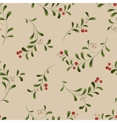 Green sprig with red berries seamless christmas vector