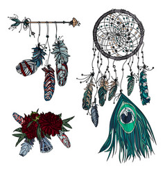 hand drawn dreamcatcher ethnic arrow and bouquet vector image vector image