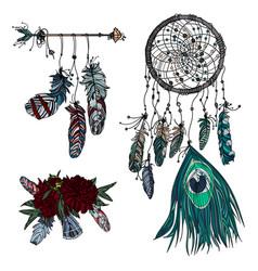 hand drawn dreamcatcher ethnic arrow and bouquet vector image