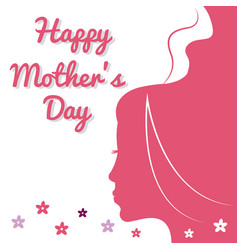 happy mothers day card pink silhouette woman and vector image vector image