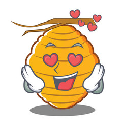 In love bee hive character cartoon vector