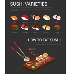 Japanese variety of sushi and chopsticks vector