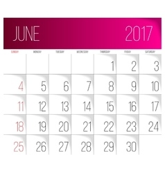 June 2017 calendar template vector