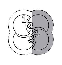 Monochrome contour sticker of circular figures vector