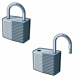 padlock open and closed vector image