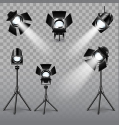 Realistic spotlight set vector