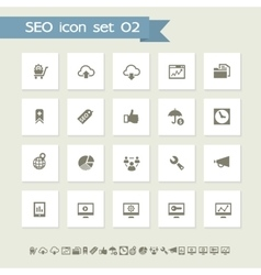 Seo icons set 2 simple flat buttons vector