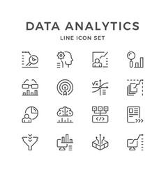 Set line icons of data analytics vector