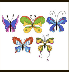 set of cute cartoon colored butterflies isolated vector image vector image