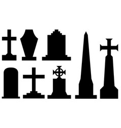 set of different tombstones vector image vector image