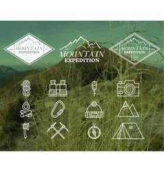 Set of Summer mountain camp badge logo and label vector image