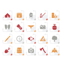 Stylized camping travel and tourism icons vector