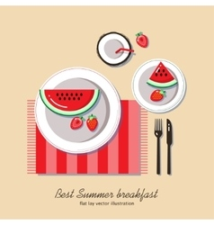 Summer breakfast flat lay vector image vector image