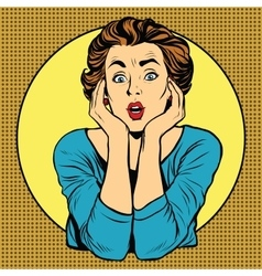 Surprised woman pop art retro style vector image