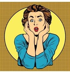 Surprised woman pop art retro style vector