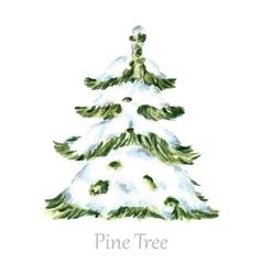 Watercolor snow christmas tree vector image vector image