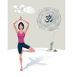 Woman Practicing Yoga Tree Asana vector image