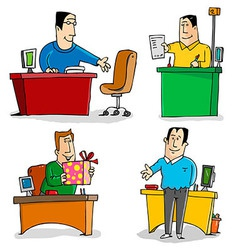 Workers in the office vector