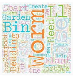 Worm compost bin text background wordcloud concept vector