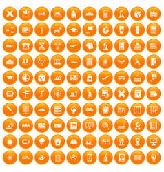 100 globe icons set orange vector