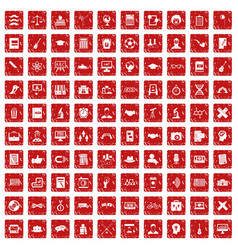 100 student icons set grunge red vector