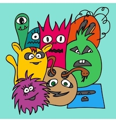 Group of monsters vector