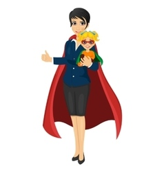 Super hero mom holding her daughter vector