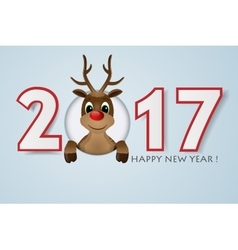 Happy new year background reindeer with red nose vector