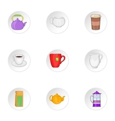 Beverage icons set cartoon style vector