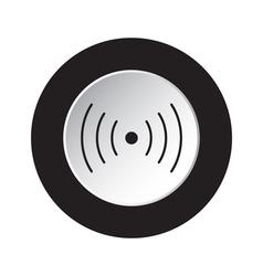 Round black white button - sound vibration icon vector
