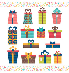Set of different gift boxes flat design birthday vector