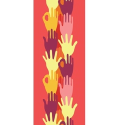 Hands in the crowd vertical seamless pattern vector image