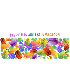Colorful french macaron cookies with drops vector