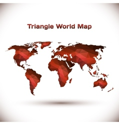 Triangle world map in red vector