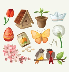 set of spring items vector image