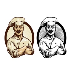 Hand drawing chef with crossed arm pose vector