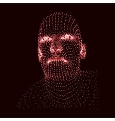 3d Grid Human Head Geometric Face Design vector image