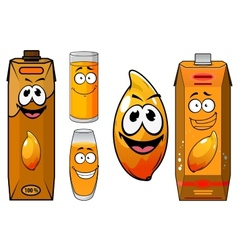 Cartoon funny fresh mango juice characters vector