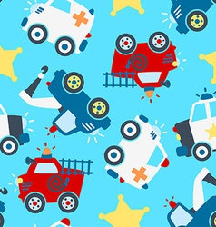 Rescue vehicles seamless pattern vector
