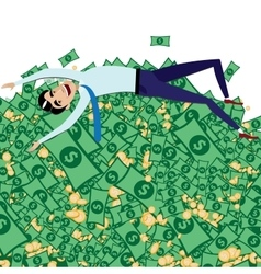 Happy businessman lying on big pile of money vector