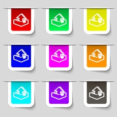 Upload icon sign set of multicolored modern labels vector
