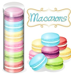 Macaron in plastic container vector
