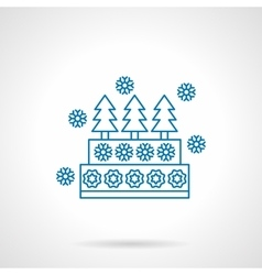 Decorative xmas pie blue line icon vector