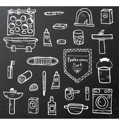 Set of bathroom equipment on black vector image