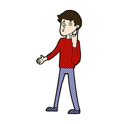 Comic cartoon man asking question vector
