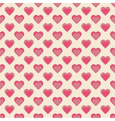 Seamless hearts pattern retro texture red and pink vector
