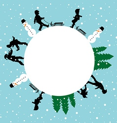 Winter round card with silhouettes of children vector