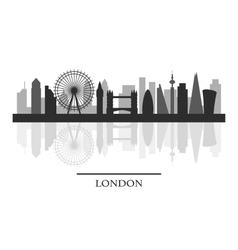 London skyline black and white stylish silhouette vector