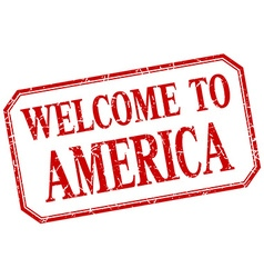 America - welcome red vintage isolated label vector