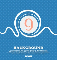Number nine icon sign blue and white abstract vector